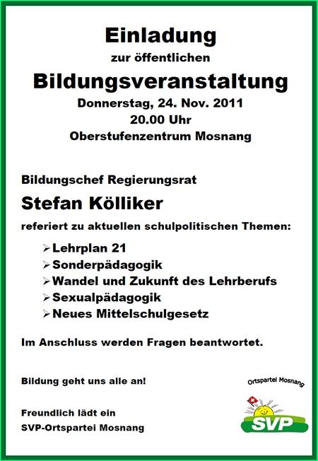 Bildungsveranstaltung SVP Mosnang mit Stefan Kölliker
