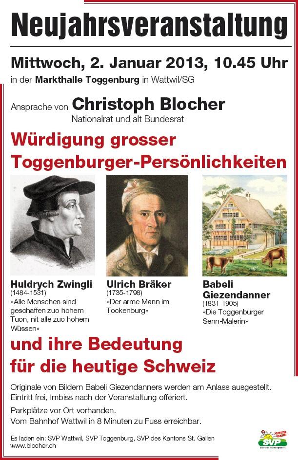 Neujahrsveranstaltung mit Christoph Blocher