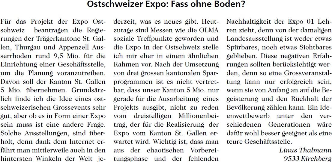 Ostschweizer Expo: Fass ohne Boden? (Donnerstag, 07.05.2015)