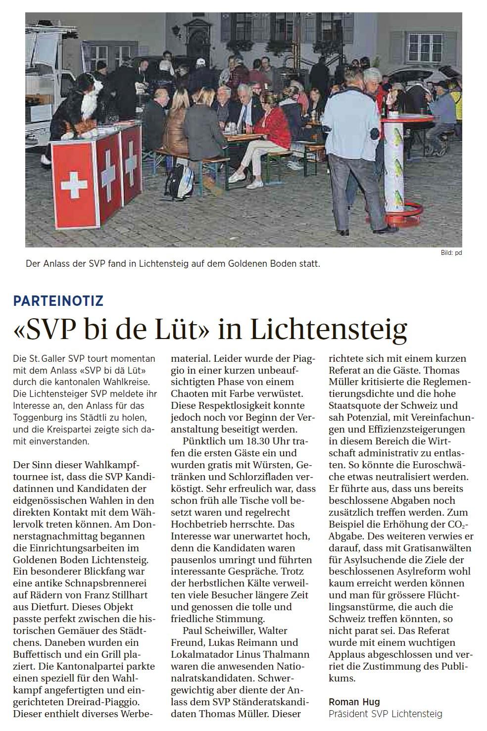 «SVP bi de Lüt» in Lichtensteig (Mittwoch, 14.10.2015)