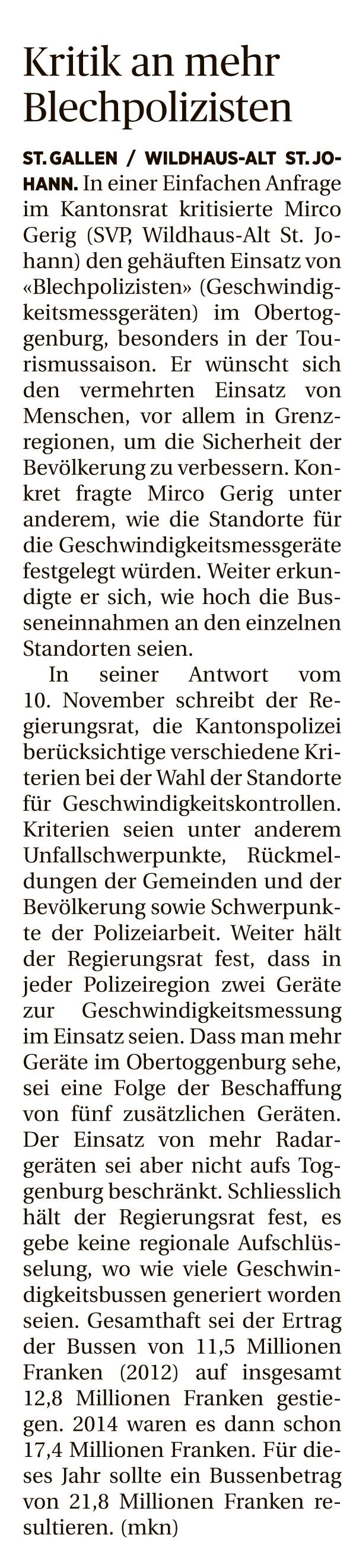 Kritik an mehr Blechpolizisten (Dienstag, 01.12.2015)