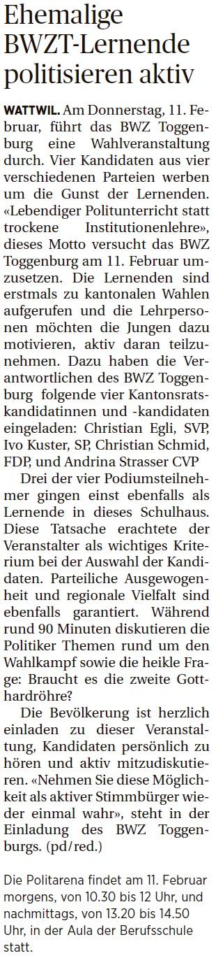 Ehemalige BWZT-Lernende politisieren aktiv (Mittwoch, 13.01.2016)