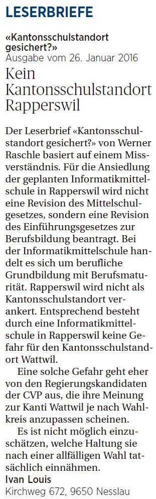 Kein Kantonsschulstandort Rapperswil (Donnerstag, 28.01.2016)
