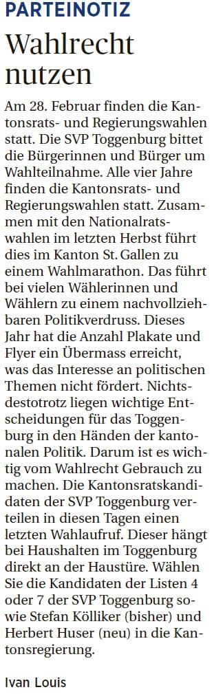 Wahlrecht nutzen (Donnerstag, 18.02.2016)