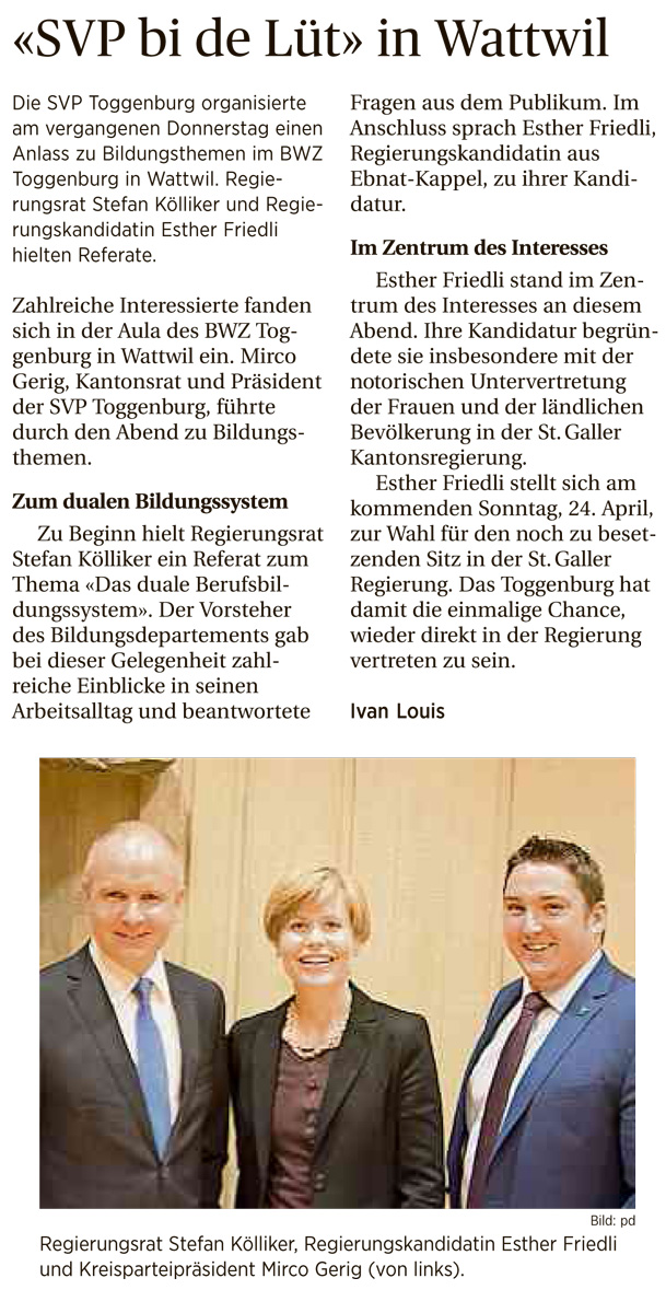 SVP bi de Lüt in Wattwil (Mittwoch, 20.04.2016)