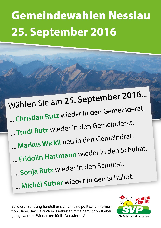 Flyer der SVP Nesslau zu den Gemeindewahlen vom 25. September 2016