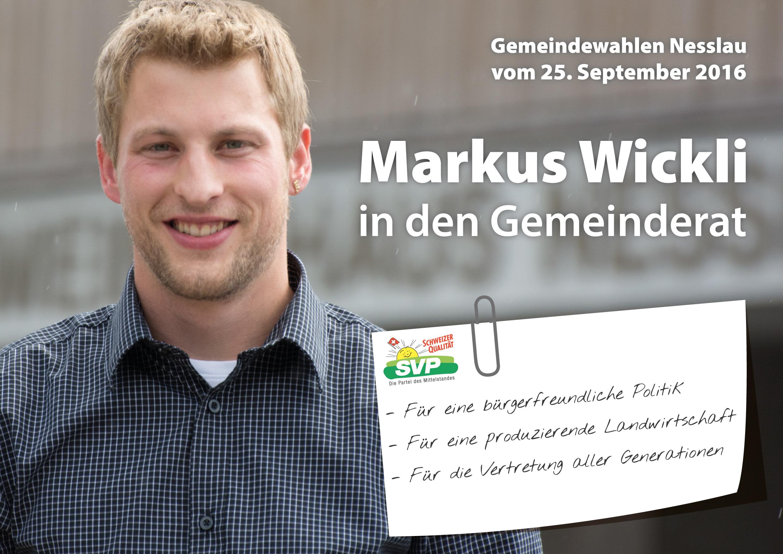 Flyer von Markus Wickli zu den Gemeindewahlen vom 25. September 2016