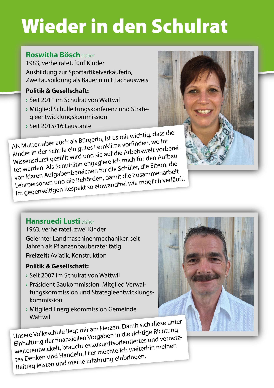 Flyer der SVP Wattwil zu den Gemeindewahlen vom 25. September 2016