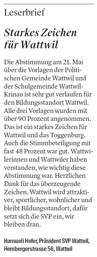 Starkes Zeichen für Wattwil (Dienstag, 30.05.2017)