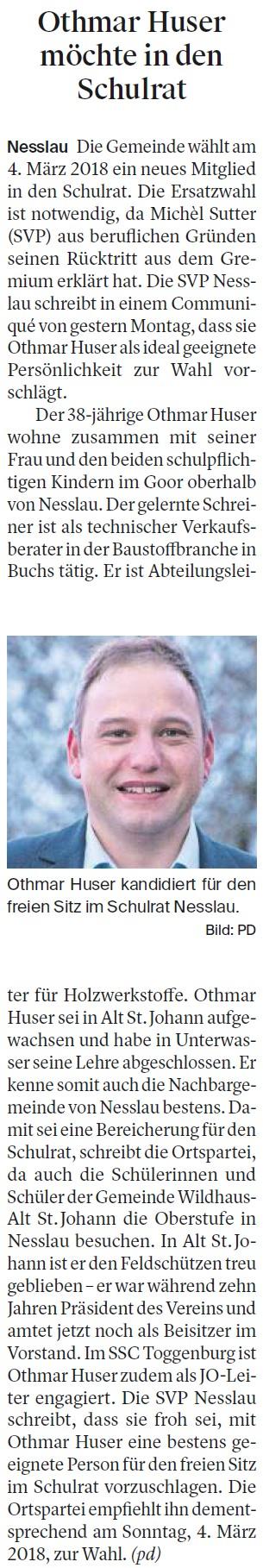 Othmar Huser möchte in den Schulrat (Dienstag, 19.12.2017)