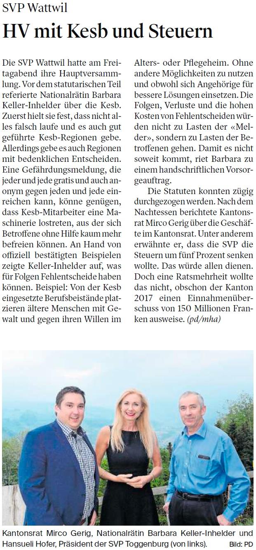 HV mit KESB und Steuern (Mittwoch, 09.05.2018)