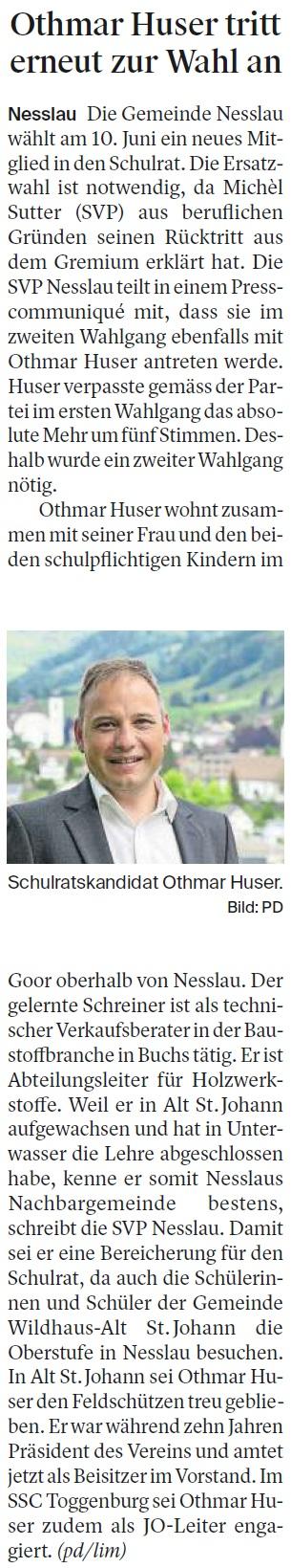 Othmar Huser tritt erneut zur Wahl an (Dienstag, 15.05.2018)