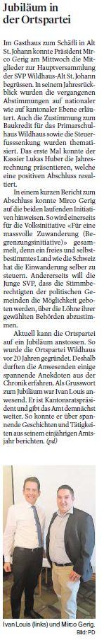 Jubiläum in der Ortspartei Wildhaus-Alt St. Johann (Dienstag, 05.06.2018)
