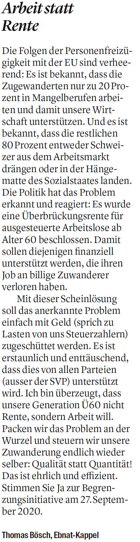 Arbeit statt Rente (Samstag, 18.07.2020)