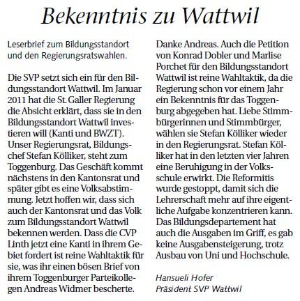 Bekenntnis zu Wattwil (Mittwoch, 29.02.2012)