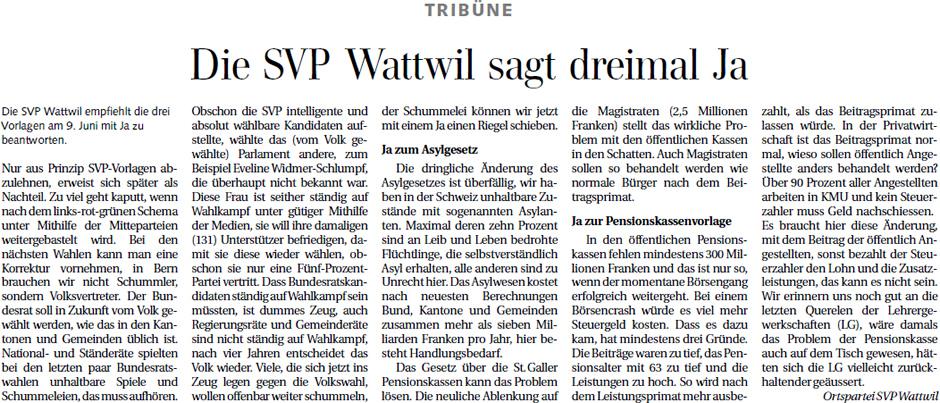 Die SVP Wattwil sagt dreimal Ja (Samstag, 25.05.2013)