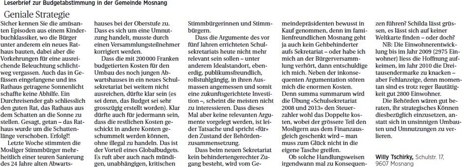 Geniale Strategie (Dienstag, 26.11.2013)