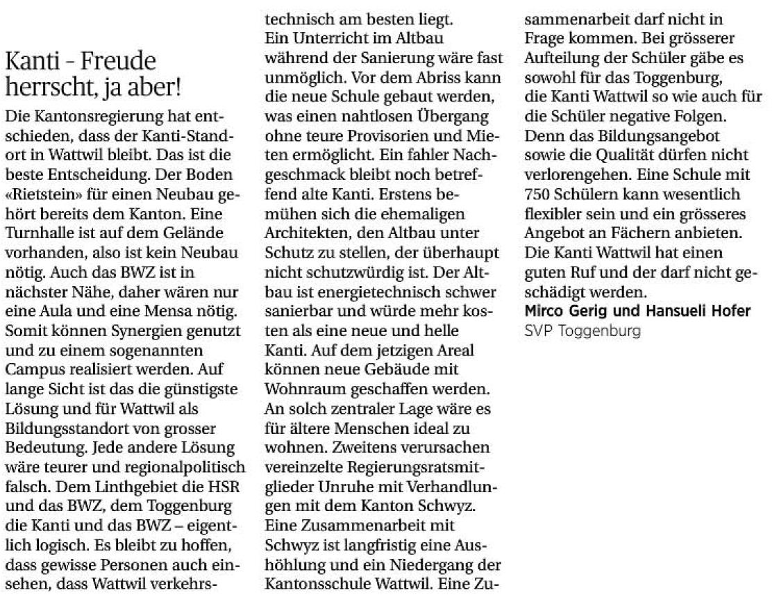 Kanti - Freude herrscht, ja aber! (Samstag, 17.05.2014)
