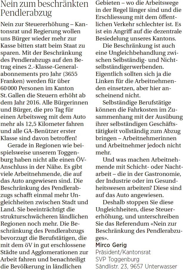 Nein zum beschränkten Pendlerabzug (Donnerstag, 26.03.2015)