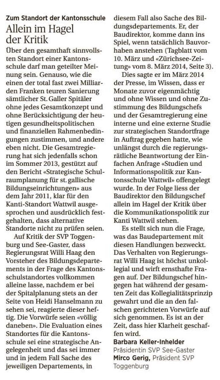 Allein im Hagel der Kritik (Samstag, 13.09.2014)