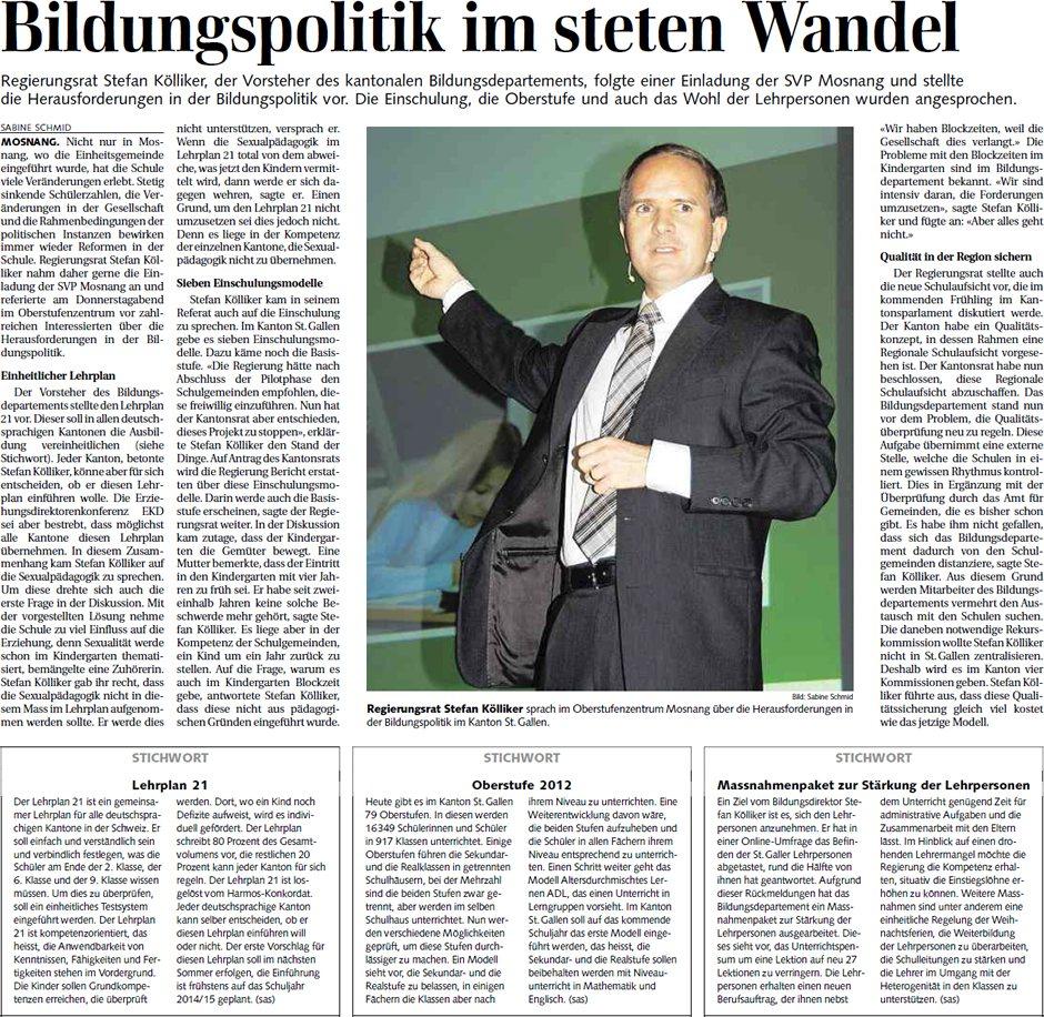Bildungspolitik im steten Wandel (Samstag, 26.11.2011)