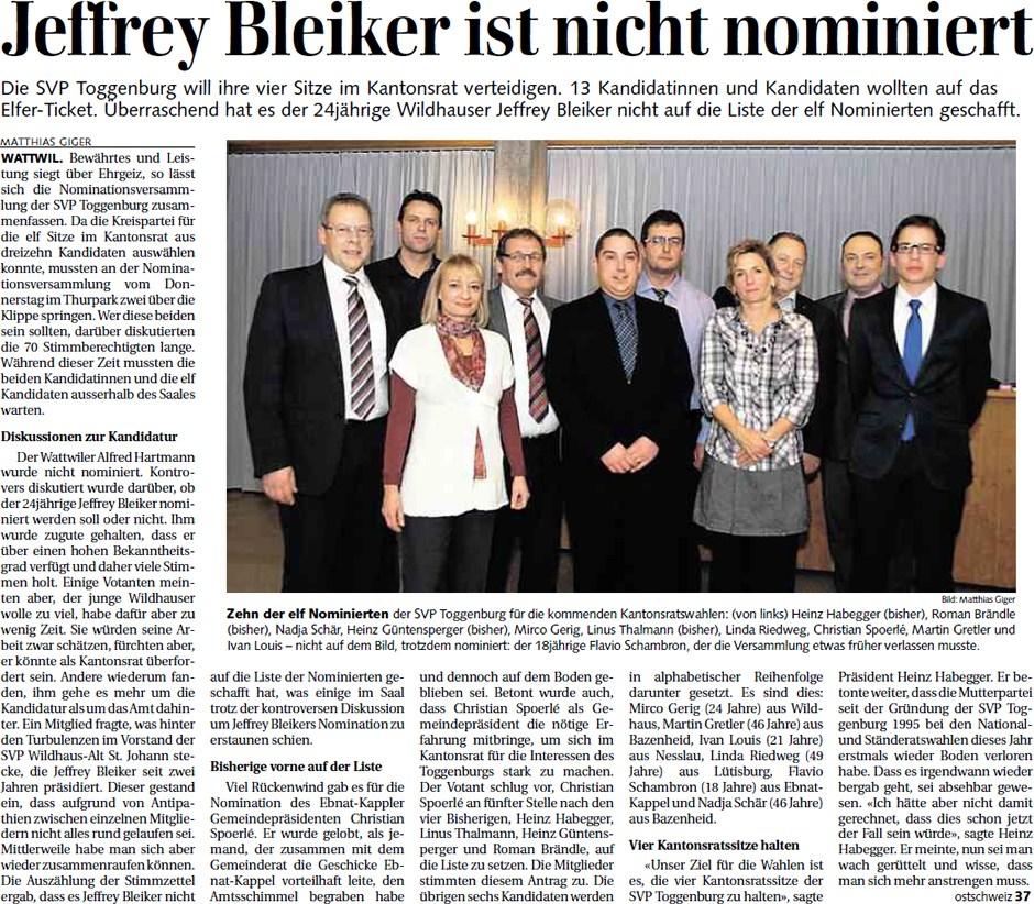 Bericht zur Nomination der Kantonsratskandidaten (Samstag, 10.12.2011)