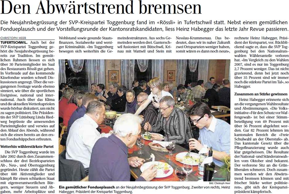 Bericht zur Neujahrsbegrüssung der SVP Toggenburg (Montag, 09.01.2012)