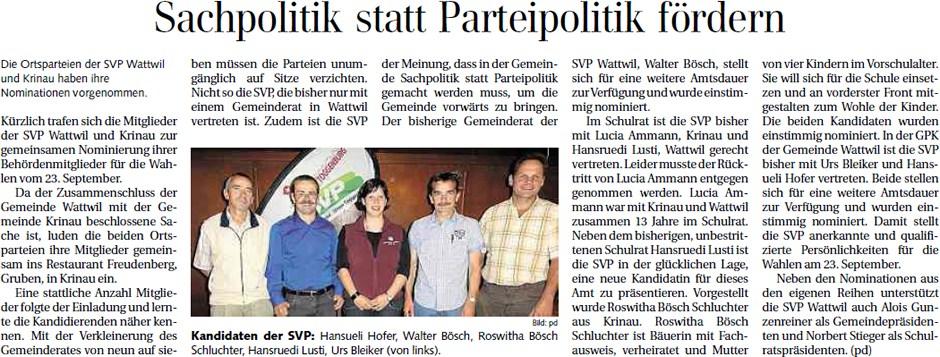Sachpolitik statt Parteipolitik fördern (Dienstag, 10.07.2012)