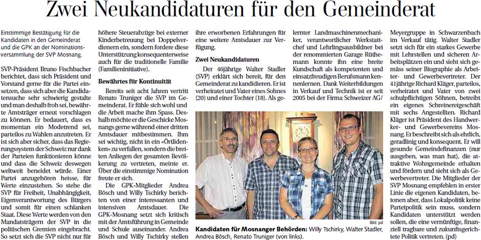 Zwei Neukandidaturen für den Gemeinderat (Dienstag, 10.07.2012)