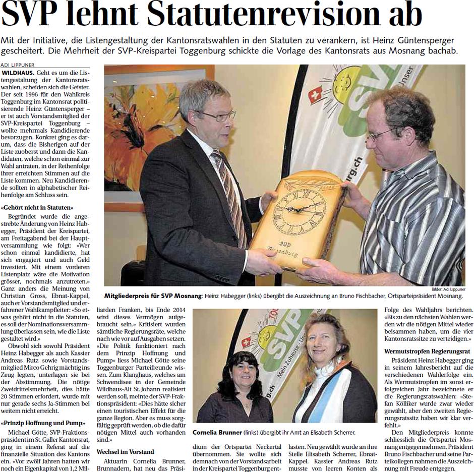 SVP lehnt Statutenrevision ab (Montag, 11.02.2013)
