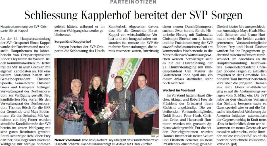 Schliessung Kapplerhof bereitet der SVP Sorgen (Dienstag, 19.02.2013)