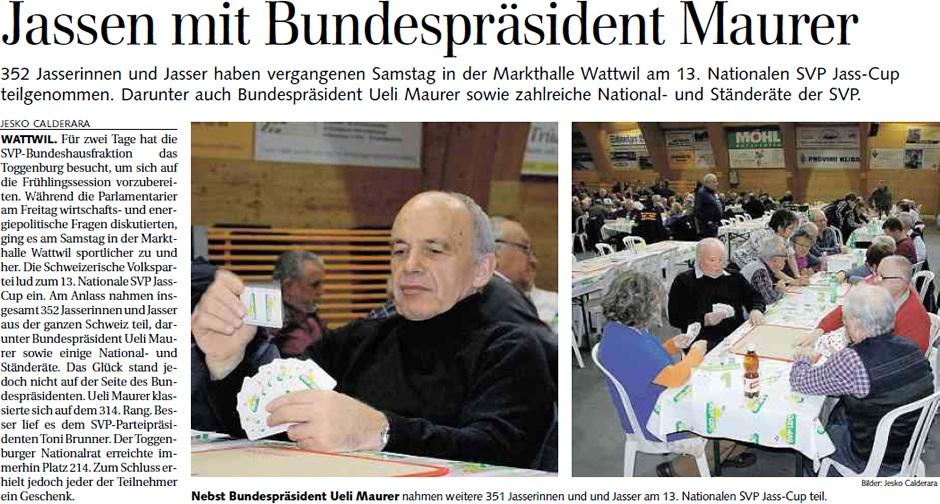 Jassen mit Bundespräsident Maurer (Montag, 25.02.2013)