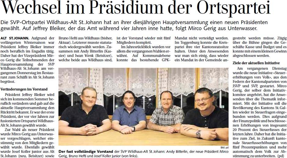 Wechsel im Präsidium der Ortspartei (Montag, 22.04.2013)