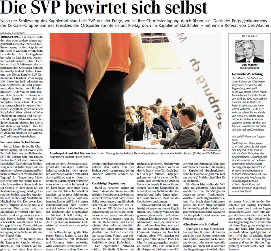 Die SVP bewirtet sich selbst (Montag, 29.04.2013)