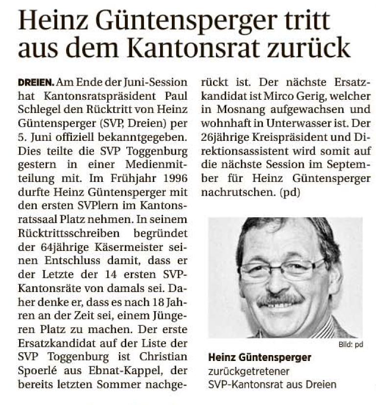 Heinz Güntensperger tritt aus dem Kantonsrat zurück (Samstag, 14.06.2014)