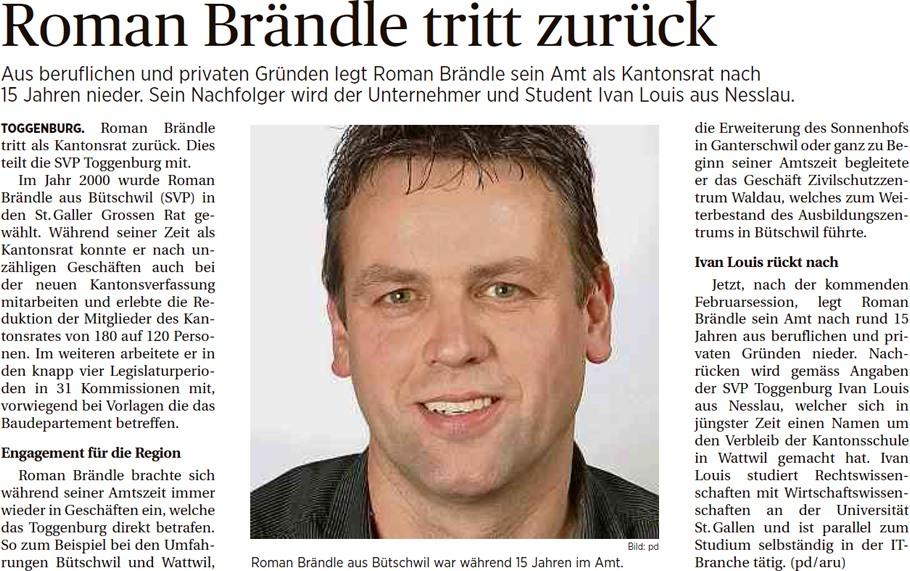 Roman Brändle tritt zurück (Mittwoch, 18.02.2015)