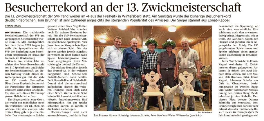 Besucherrekord an der 13. Zwickmeisterschaft (Dienstag, 07.04.2015)