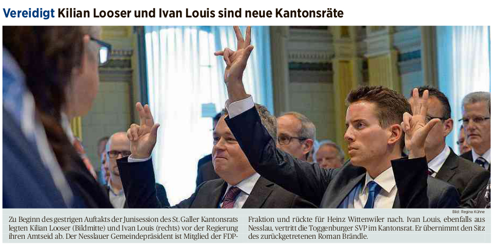 Vereidigt: Kilian Looser und Ivan Louis sind neue Kantonsräte (Dienstag, 02.06.2015)